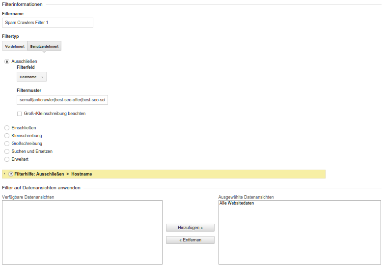 Google Analytics - Filter 1
